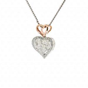 จี้ทองคำแท้ 18K รูปหัวใจ 2 ดวงประดับเพชร
