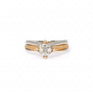 แหวนเพชรประกบ ทองคำแท้ 18K สไตล์วินเทจ