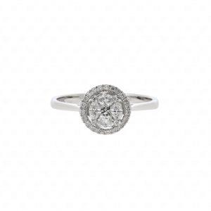 Classic Halo Round Diamond Ring18K White Gold แหวนเพชรประกบทองขาวเพชรประกบ เพชรต่อ illusion setting คู่บ่าวสาว หมั้น วิธี เริ่ม ขั้นตอน แหวนหมั้น แหวนเพชร แหวนผู้หญิง แหวนผู้ชาย แหวนทองคำ แหวนทองขาว แหวนทองคำขาว โรงแรม งานเช้า งานเลี้ยง จัดเตรียม ร้านเพชร ร้านแหวน ร้านเครื่องประดับ ร้านจิวเวลรี่ เซตแต่งงาน สร้อยคอ จี้ ต่างหู เพชร แหวนเพชรแท้ ร้านไหนดี ซื้อแหวนแต่งงาน แนะนำ รีวิว ราคา